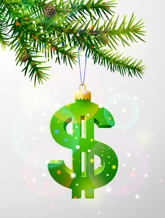 Christmas tree branch with decorative dollar symbol. Dollar sign as christmas bauble hanging on pine twig. Qualitative vector illustration for christmas, finance, new year day, banking, new year eve, money, silvester, etc