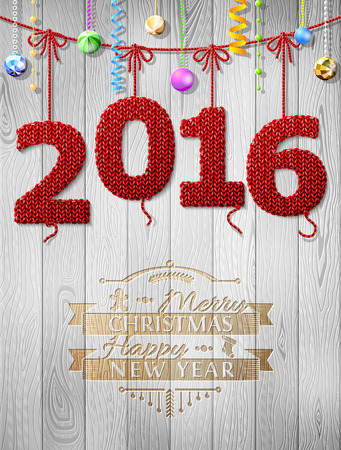 siding: New Year 2016 knitted fabric as christmas decoration. Christmas congratulation against wood background. Qualitative vector illustration for new year day, christmas, winter holiday, new year eve, silvester, etc