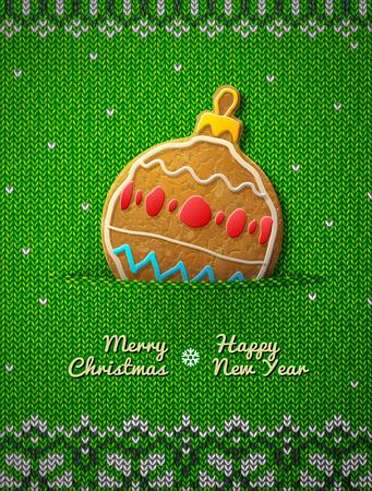 silvester: Christmas bauble cookie on knitted background. Jumper fragment with holiday gingerbread. Qualitative vector illustration for christmas, new year day, winter holiday, new year eve, silvester, etc Vettoriali