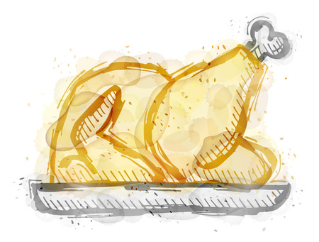 Painting of roast turkey, chicken with watercolor effect. Outline sketch of christmas whole turkey painted colors. Qualitative vector illustration for cooking, holiday meals christmas, thanksgiving, recipes, gastronomy, food, restaurant, etc Illustration