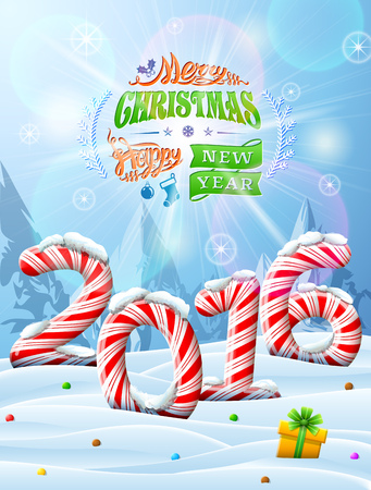 happy new year: Winter landscape with candies, gift box, congratulation. Qualitative vector illustration for new year day, christmas, sweet-stuff, winter holiday, new year eve, food, silvester, etc