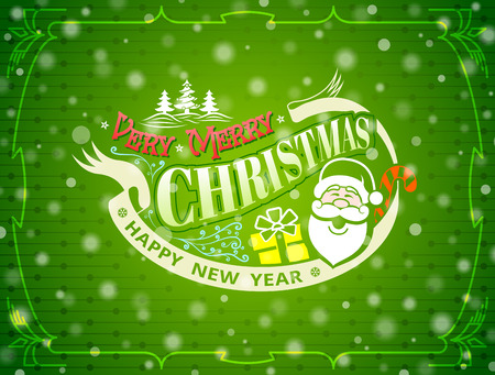 donative: Christmas greeting card with snowfall effect. Holiday wishes against green New Year background. Qualitative vector illustration for christmas, new year day, winter holiday, new year eve, silvester, etc