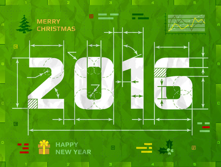 blueprint: New Year 2016 as technical blueprint drawing. Drafting of 2016 on crumpled paper. Qualitative vector illustration for new year day, christmas, winter holiday, new year eve, silvester, etc Illustration