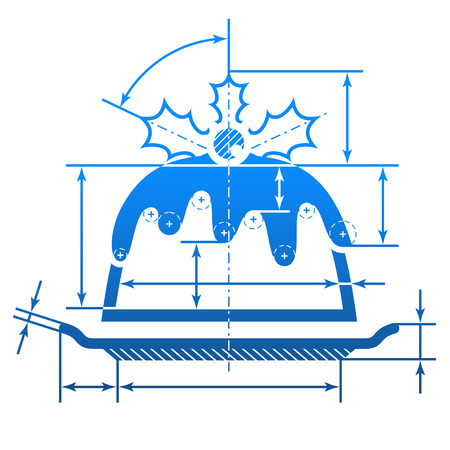 holiday food: Christmas cake with dimension lines. Element of blueprint drawing in shape of pudding. Qualitative vector illustration for christmas, holiday meals, recipes, new year day, cooking, silvester, food, etc