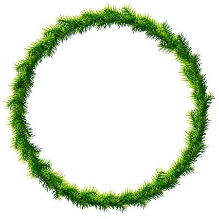 abetos: Corona de Navidad fina y sin decoración. Marco redondo de ramas de pino aisladas sobre fondo blanco. ilustración vectorial cualitativa para la navidad, día de año nuevo, la decoración, vacaciones de invierno, el diseño, la noche vieja, Silvester, etc. Vectores