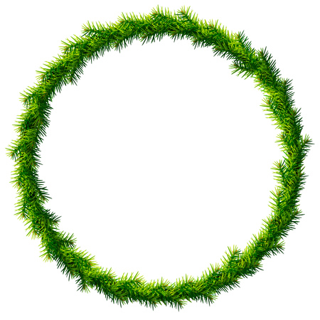 pine decoration: Thin christmas wreath without decoration. Round frame of pine branches isolated on white background. Qualitative vector illustration for christmas, new year day, decoration, winter holiday, design, new year eve, silvester, etc