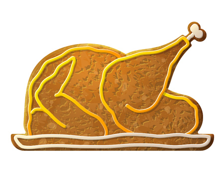 dainty: Gingerbread cooked turkey, chicken decorated colored icing. Holiday cookie in shape of christmas whole turkey. Qualitative vector design element for cooking, holiday meals christmas, thanksgiving, recipes, gastronomy, food, etc