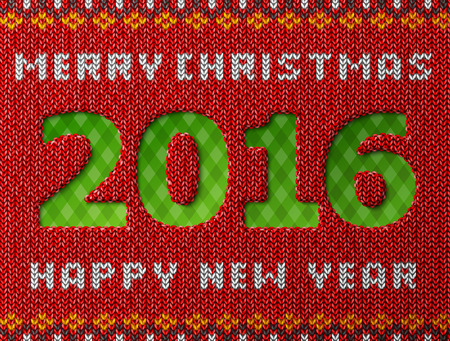 knitwear: New Year 2016 as hole in knitted background. Fragment of knitwear with year number and holiday wishes. Qualitative vector illustration for christmas, new year day, winter holiday, new year eve, silvester, etc