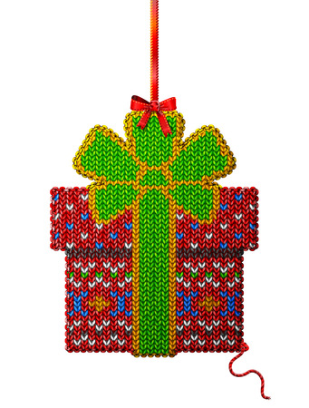 stockinet: Gift box of knitted fabric with ornament. Knitted gift with bow hanging on ribbon. Qualitative vector design element for christmas, new year day, winter holiday, new year eve, decoration, silvester, etc Illustration