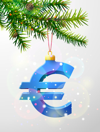 christmas savings: Christmas tree branch with decorative euro symbol. Euro sign as christmas bauble hanging on pine twig. Qualitative vector illustration for christmas, finance, new year day, banking, new year eve, money, silvester, etc Illustration