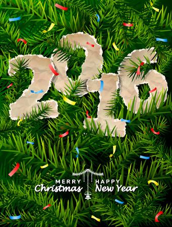 silvester: New Year 2016 of crumpled paper between pine branches. Paper year numbers is strewn with confetti on christmas tree. Qualitative vector illustration for new year day, christmas, winter holiday, new year eve, silvester, etc Illustration