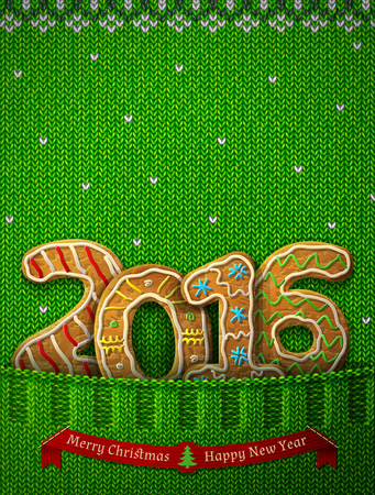 holiday food: New Year 2016 in shape of gingerbreads in knitted pocket. Jumper fragment with year number like cookies. Qualitative vector illustration for new year day, christmas, cooking, winter holiday, food, silvester, etc