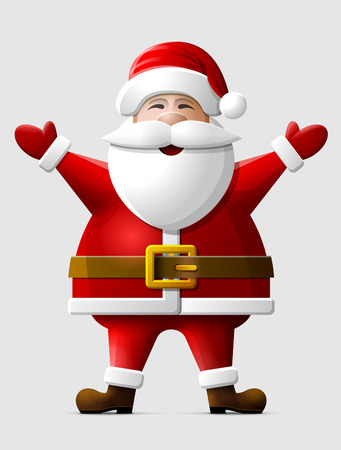 silvester: Cheerful Santa Claus standing in full length. Santa in christmas costume with his hands up. Qualitative vector illustration for christmas, new year day, winter holiday, new year eve, silvester, etc