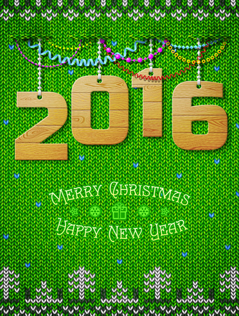 silvester: New Year 2016 of wood as christmas decoration. Christmas congratulation against knitted background. Qualitative vector illustration for new year day, christmas, winter holiday, new year eve, silvester, etc