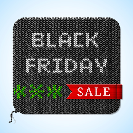 price reduction: Black Friday Sale title on knitted fabric. Design for christmas sales announcement. Qualitative vector illustration for christmas, sales, new year day, discount, winter holiday, shopping season, price reduction, etc Illustration