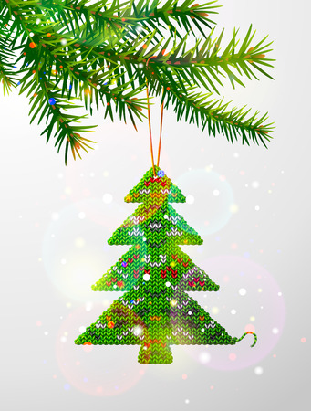 stockinet: Christmas tree branch with decorative knitted pine. Christmas tree of knitted fabric hanging on pine twig. Qualitative vector illustration for christmas, new year day, design, winter holiday, decoration, silvester, etc