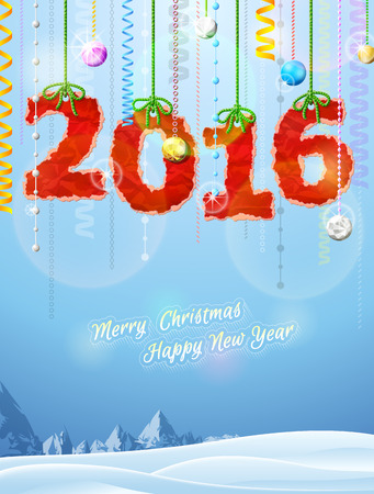 silvester: New Year 2016 of crumpled paper as christmas decoration. Winter landscape with christmas congratulation. Qualitative vector illustration for new year day, christmas, winter holiday, new year eve, silvester, etc