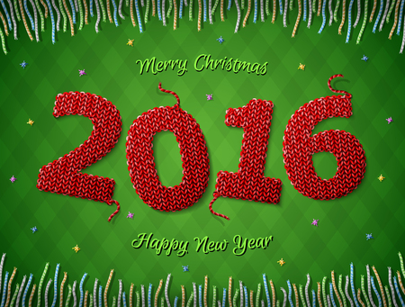 stockinet: New Year 2016 in shape of knitted fabric on checkered background. Christmas wishes surrounded by colored threads. Qualitative vector illustration for new year day, christmas, winter holiday, new year eve, silvester, etc
