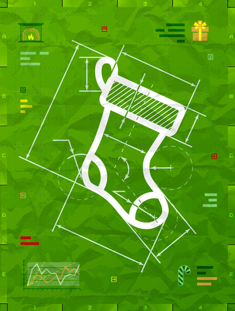 Christmas stocking symbol as technical blueprint drawing. Drafting of sock sign on crumpled paper. Qualitative vector illustration for christmas, new year day, engineering, winter holiday, design, new year eve, technologies, etc