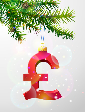 increment: Christmas tree branch with decorative pound sterling symbol. Pound sign as christmas bauble hanging on pine twig. Qualitative vector illustration for christmas, finance, new year day, banking, new year eve, money, silvester, etc