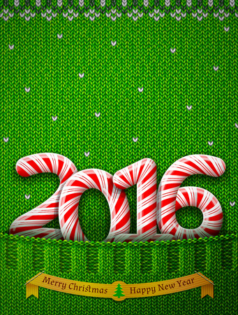 stockinet: New Year 2016 in shape of candy stick in knitted pocket. Sweater fragment with year number like holiday candies. Qualitative vector illustration for new year day, christmas, winter holiday, sweet-stuff, new year eve, food, silvester, etc Illustration