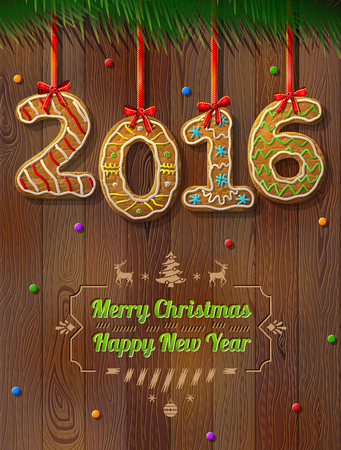 silvester: New Year 2016 in shape of gingerbread against wood background. Year number like cookies on ribbon. Qualitative vector illustration for new year day, christmas, winter holiday, cooking, new year eve, food, silvester, etc