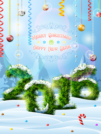 silvester: New Year 2016 of christmas tree twigs in snow. Winter landscape pine branches, decoration, congratulation. Qualitative vector illustration for new year day, christmas, winter holiday, new year eve, silvester, etc