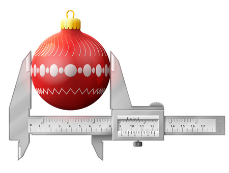 measures: Horizontal caliper measures christmas tree ball. Concept of pine holiday bauble and measuring tool. Qualitative vector illustration for new year day, christmas, winter holiday, decoration, new year eve, silvester, etc