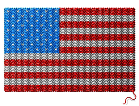 knitwear: United State Of America, USA flag of knitted fabric. Fragment of knitwear in shape of national american flag. Qualitative vector illustration about national symbols, ensigns, heraldry, patriotism, state banner, etc