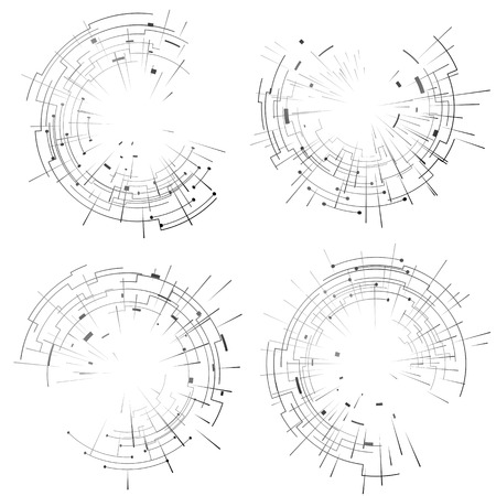 annular: Abstract elements set of circular lines and rays. Collection of graphics for abstract background. Qualitative vector designs for digital idustry, hi-tech, science, engineering, computer systems, etc