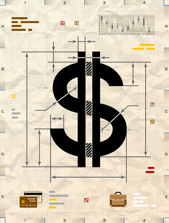 drafting: Dollar sign as technical blueprint drawing. Drafting of money symbol on crumpled craft paper. Qualitative vector illustration for banking, financial industry, economy, accounting, etc Illustration