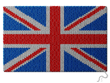 stockinet: United Kingdom UK flag of knitted fabric. Fragment of knitwear in shape of national british flag. Qualitative vector illustration about national symbols, ensigns, heraldry, patriotism, state banner, etc