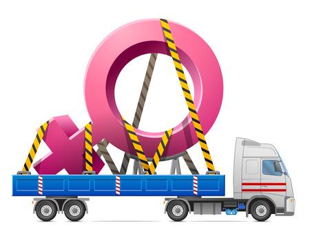 nude girl: Road transportation of female symbol. Big woman sign in back of truck. Qualitative vector illustration about women biology and health, feminine psychology, sex differences, gender role, etc Illustration