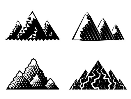 pinnacle: Icon set of mountains in black-and-white colors. Vector symbols collection of mountain range. Qualitative vector signs about travel, nature, climbing, landscape, tourism, geology, expedition, etc