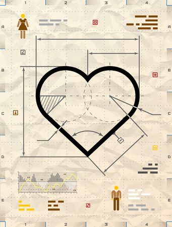 drafting: Heart sign as technical blueprint drawing. Drafting of heart symbol on crumpled paper. Qualitative vector illustration for Valentine day, wedding, love, relationship, etc