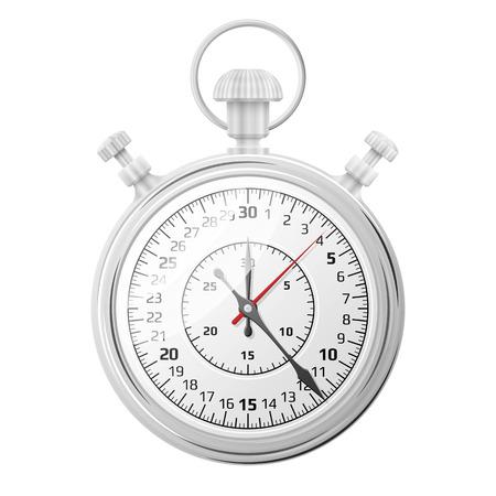 Cronómetro aislado en el fondo blanco. temporizador mecánico para la medición de cantidad de tiempo. ilustración vectorial cualitativa para el deporte, eventos de temporización, juego, control de tiempo, experimentos de laboratorio, etc.