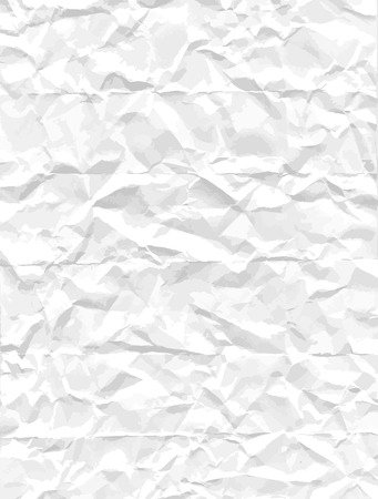 backcloth: Crumpled white paper texture. Blank creased sheet of paper. Qualitative vector image for background, design, template, decoration, etc