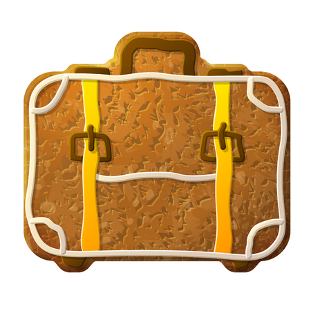 confectionery: Gingerbread suitcase decorated colored icing. Holiday cookie in shape of travel bag. Qualitative vector illustration for travel, luggage, tourism, accessory, vacation, baggage, trip, etc Illustration