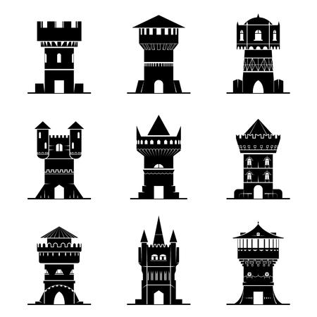 castello medievale: Set di icone torre in bianco e nero. Vector raccolta di simboli per edifici medievali. segni vettore qualitative di architettura, Medioevo, il castello, la storia, fantasia, difesa, ecc