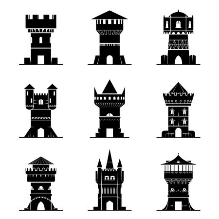 Set of black-and-white tower icons. Vector collection of symbols for medieval buildings. Qualitative vector signs about architecture, middle ages, castle, history, fantasy, defence, etc
