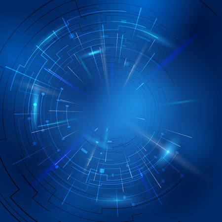 outburst: Abstract technology background of circular lines and rays. Modern blue backdrop with light effects. Qualitative illustration for digital industry, hi-tech, science, engineering, computer systems, etc