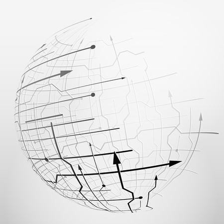 globe grid: Abstract spherical mesh of geometric lines. Globe grid surface with arrows and dots. Qualitative illustration for digital industry, hi-tech, science, engineering, computer systems, etc