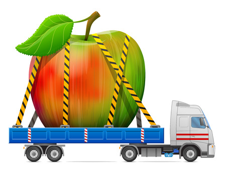 big apple: Road transportation of apple fruit. Delivery of big apple with leaf in back of truck. Qualitative illustration about apple, agriculture, fruits, cooking, gastronomy, etc