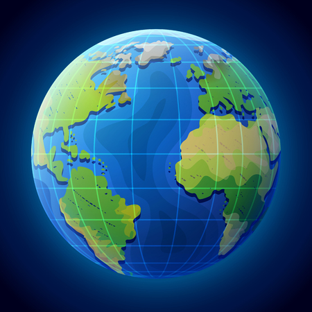 View of globe from space. Earth planet with ocean and continents. Qualitative illustration for travel, planet Earth, geography, tourism, world map, trip, cartography, etc