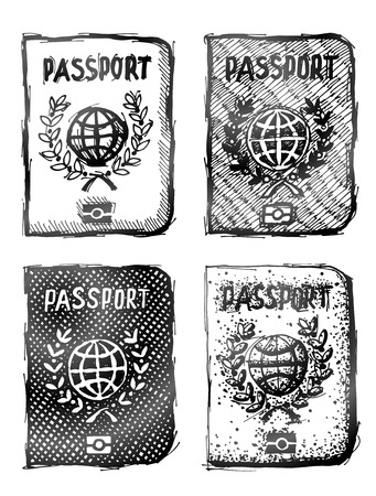 Ręcznie rysowane paszport. Szkic międzynarodowego dokumentu identyfikacyjnego w doodle stylu. Jakościowa Ilustracja o identyfikację, podróże, check-in, turystyka, kontrola paszportowa, wakacje, obywatelstwo, podróż, etc Ilustracje wektorowe