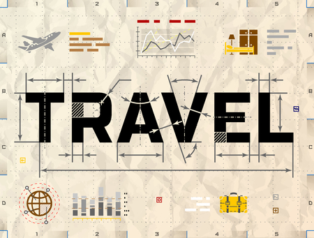 travel bag: Word TRAVEL as technical blueprint drawing. Drafting of tourism on crumpled paper. Qualitative illustration about travel, tourism, vacation, trip, booking, etc Illustration