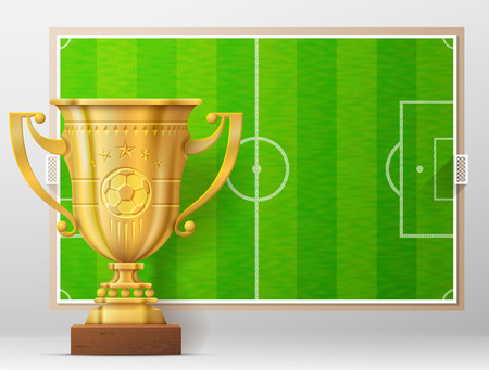 winning pitch: Golden trophy cup against soccer pitch. Sport award and association football field. Qualitative illustration about soccer, reward, sport, victory, football, championship, winning, etc Illustration