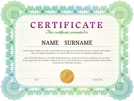 licence: Certificate template with guilloche elements. Green diploma border design for personal conferment. Qualitative vector layout for award, patent, validation, licence, education, authentication, achievement, etc