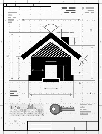 housing development: Home symbol as technical drawing. Stylized drafting of house sign with title block. Qualitative vector illustration about architecture, building, real estate, construction, development, housing, etc
