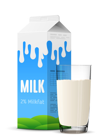 Glass of milk with gable top package close up. Cow milk carton and milk cup isolated on white background. Qualitative vector illustration for milk, food service, dairy, beverages, gastronomy, health food, etc